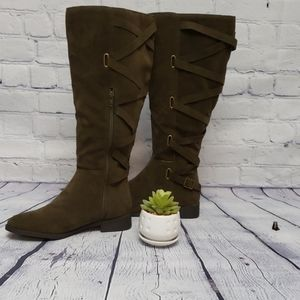 Just Fab olive lattice back detail, wide calf boot